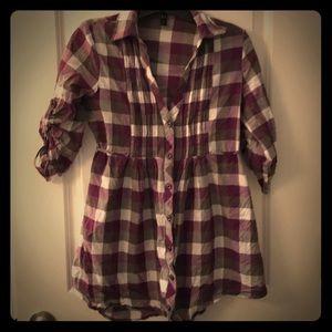 **2/15 or 3/20** Purple Plaid Button Down Shirt M